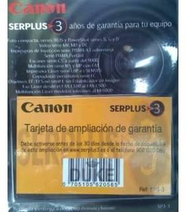 CANON AMPLIACION GARANTIA 3 AÑOS IXUS LASER VIDEO MX, ETC (SP3-3)