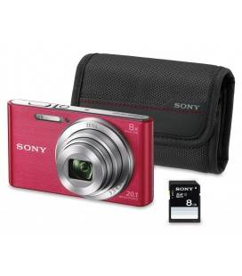 SONY DSC-W830 20.1MP KIT +SD 8B+FUNDA COLOR ROSA