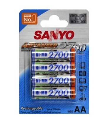 SANYO BLISTER 4 piles rechargeables R6/2700mA