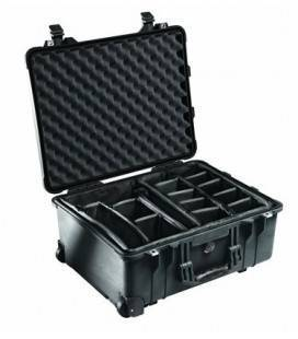 PELI 1560 BRIEFCASE WITH MOVABLE COMPARTMENTS AND BLACK WHEELS