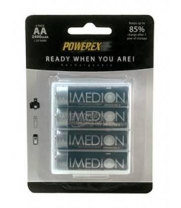 POWEREX PACK 4 BATERIAS RECARGABLES AA NiMH 1,2v 2400mAh. IMEDION