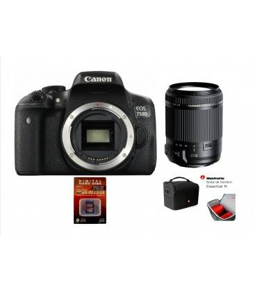 CANON 750D KIT CON TAMRON 18-200VC + SD 16GB HD VIDEO + BOLSO MANFROTTO