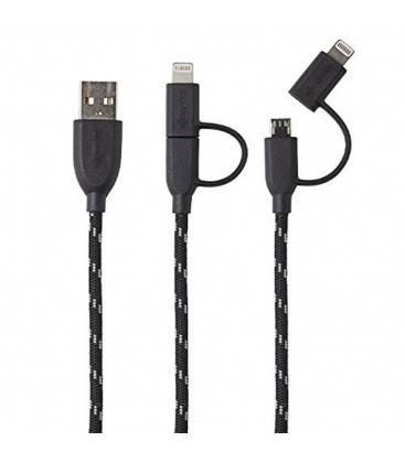 BOOMPODS CABLE DUO  TRENZADO 1M LIGHTNING/MICRO USB A USB