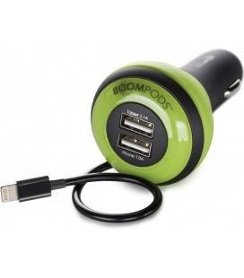 BOOMPODS CAR CHARGER APPLE 2 USB GREEN