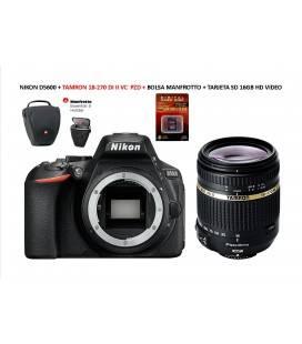 NIKON D5600 + TAMRON AF S 18 -270 VC PZD + BOLSO TAMRON + SD 16GB HD VIDEO + FILTRO 62MM UV TAMRON