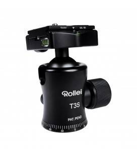 Rollei ROTULA BOLA T-3S Schwarzes ALUMINIUM BUBBLE LEVEL