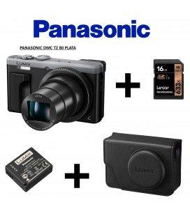 PANASONIC TZ 80 PLATA + FUNDA RETRO + BATERIA +16 GB  95MBS