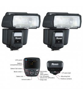 NISSIN KIT2 I60 NIKON 2 FLASHES + TRANSMISOR AIR 1