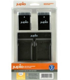 JUPIO DUAL USB CHARGER KIT + 2 BATTERIES EN-EL14A 1100MAH (CNI1003)