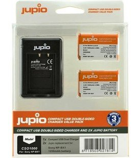 JUPIO KIT CHARGEUR USB DOUBLE + 2 PILES NP-BX1