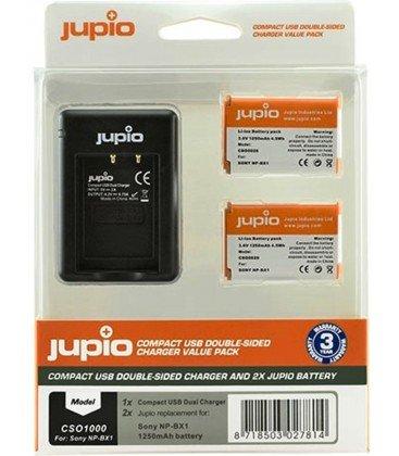 JUPIO KIT CARGADOR DUAL USB + 2 BATERIAS NP-BX1