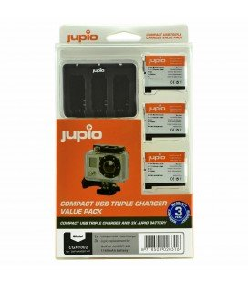 JUPIO KIT GOPRO  3USB CHARGER + 3 BATTERIES  AHDBT-401 HERO4