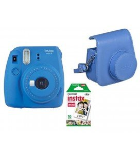 FUJIFILM  INSTAX MINI 9 + 10 PHOTOS + ORIGINAL COVER -BLUE