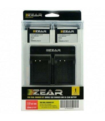 ZEAR KIT CANON  2 BATERIAS LP-E17 + CARGADOR DUAL USB