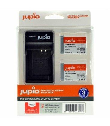 JUPIO 2 BATERIAS NB-13L + CARGADOR USB KIT (CA1007)
