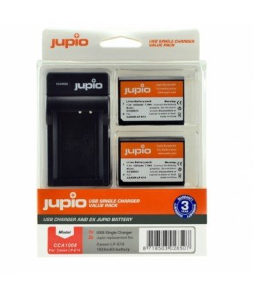 JUPIO 2 BATERIAS LP-E10 CANON + CARGADOR USB (CCA1008)