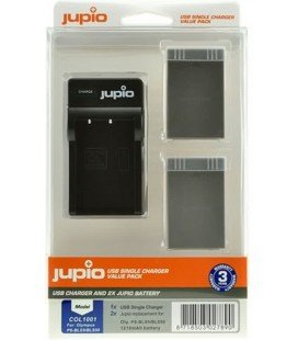 JUPIO 2 BATTERIES BLS-5/PS-BLS50 1210mAh OLYMPUS + KIT CHARGEUR USB (COL1004)