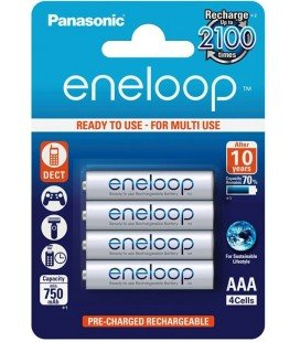 PANASONIC ENELOOP BLISTER 4 AAA/750mA rechargeable batteries.