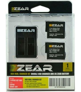 ZEAR KIT 2 BATTERIES + DOUBLE CHARGEUR GOPRO AHDBT-501, AABAT-001 HERO5 / HERO6