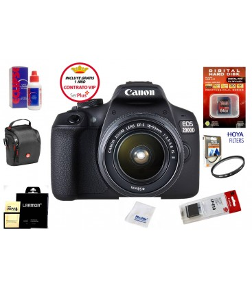 CANON EOS 2000D + 18-55 IS II PACK BASICO +1 AÑO MANTENIMIENTO VIP SERPLUS CANON