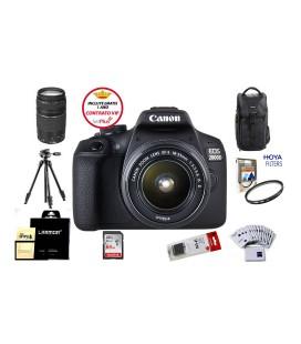 CANON EOS 2000D + 18-55 IS II PACK ADVANCED + FREE 1 ANNO DI MANUTENZIONE VIP SERPLUS CANON VIP SERPLUS