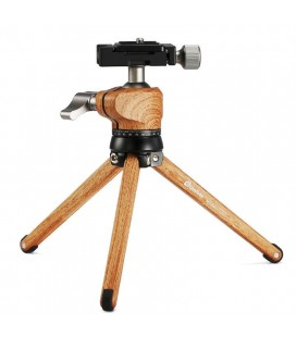 LEOFOTO  MT-01 + LH25 MINI TRIPOD + ROLLING PIN /ALUMINIUM WOOD FINISH