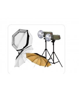 ULTRALYT KIT ESTUDIO 800A ( 2 FLASH 800+2 TRIPODE WT806 + 1 VE 90X90+2 PARAGUAS PRND43+BOLSO )