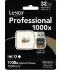 LEXAR MICRO SDHC 32 GB 150M/S +LECTOR USB3.0