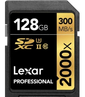 LEXAR SDXC 128 GB 300M/S RDR UHS-II 2000X+ ADAPTADOR USB 3.0