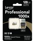 LEXAR-KARTE MICRO SDXC UHS-II 1000x + 150 MB / s mit USB 3.0-Adapter und USB 3.0-Adapter