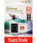 SANDISK TARJETA EXTREME MICRO SD 64GB 160M/S