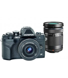 OLYMPUS OM-D E-M10 MARK IV + 14‑42MM F3.5‑5.6 AND 40‑150MM F4‑5.6 R PANCAKE KIT - BLACK
