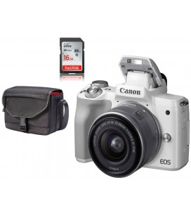 CANON KIT M50 BLANCO + 15-45MM + FUNDA CANON + SD 16GB