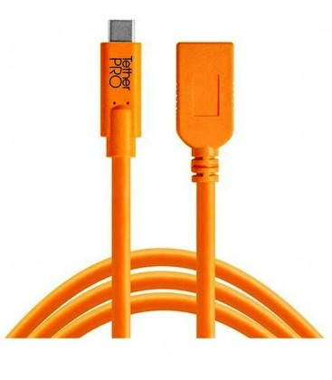 TETHERPRO USB TYPE-C A USB TYPE-A EXTENSION CABLE (15 ',NARANJA)