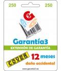GARANTIE 3 DECKUNG BIS ZU 250 EURO - 12 MONATE UNFALLSCHÄDEN