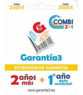 3 GARANZIA COMBI FINO A 2000 EURO - 2 ANNI ESTENSIONE GARANZIA + 1 ANNO DANNI ACCIDENTALI